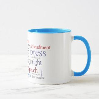 Caneca Liberdade de expressão da Primeira Emenda: