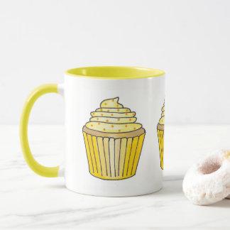 Caneca Limão - bolo amarelo do cupcake do glacé de