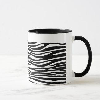 Caneca listrada da zebra preto e branco