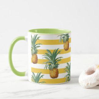 Caneca listras amarelas dos pinepples