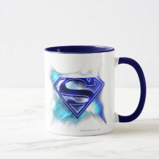 Caneca Logotipo de cristal branco | azul estilizado do