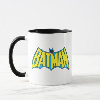 Caneca Logotipo do azul do amarelo do vintage de Batman  