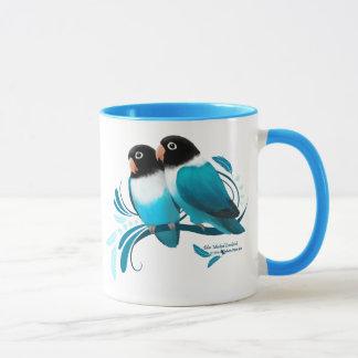Caneca Lovebirds mascarados azul