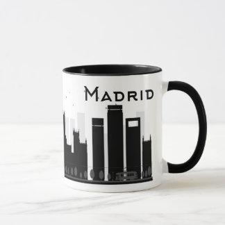 Caneca Madrid, espanha skyline preta & branca de | da