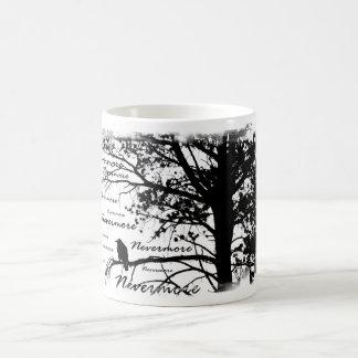 Caneca Mágica Árvore preta & do branco nunca mais do corvo da