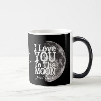 Caneca Mágica Eu te amo à lua e à parte traseira com seu nome