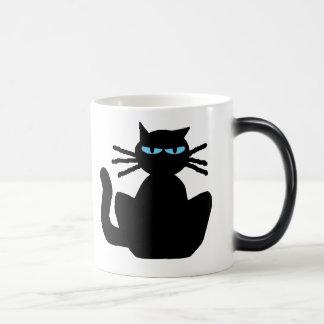 Caneca Mágica Gato preto misterioso com olhos azuis