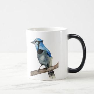 Caneca Mágica Jay azul na pintura da aguarela do ramo