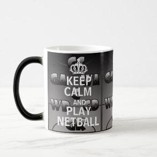 Caneca Mágica Mantenha posições do Netball das citações da calma