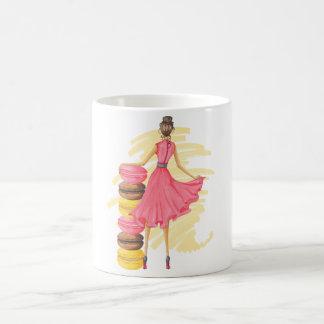 Caneca Mágica Menina com rosa de Macarons