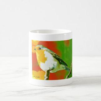 Caneca Mágica Pássaro verde branco amarelo selvagem do pisco de