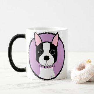 Caneca Mágica Roxo de Boston Terrier