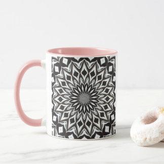 Caneca Mandala decorativa preto e branco
