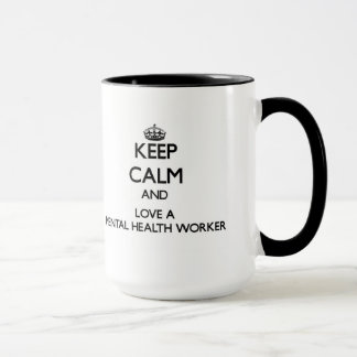Caneca Mantenha a calma e ame um trabalhador do sector da