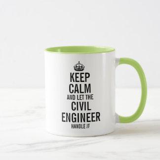 Caneca Mantenha a calma e deixe o engenheiro civil