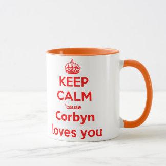 Caneca Mantenha amores calmos de Corbyn da causa você