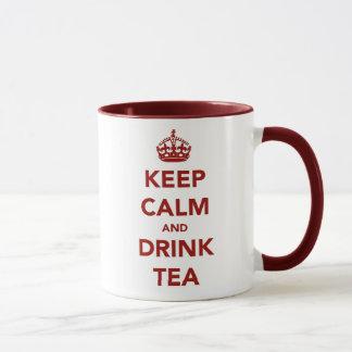 Caneca Mantenha calmo, chá da bebida