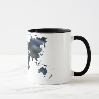 Caneca Mapa do mundo acrílico azul de Swirly