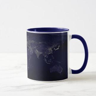 Caneca Mapa do mundo na noite