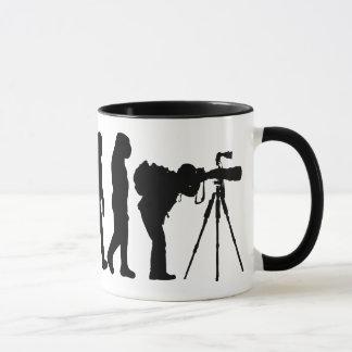 Caneca masculina da evolução do fotógrafo