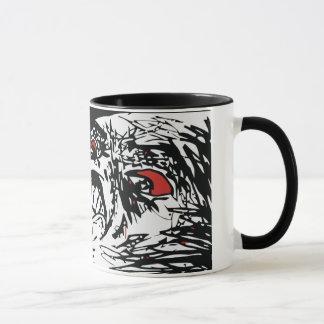 Caneca mega do café da cara da raiva