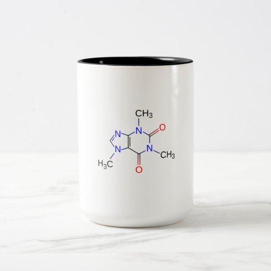 Caneca molécula da cafeína.