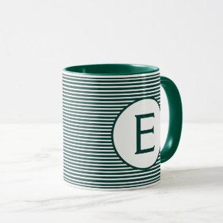 Caneca Monograma verde da listra do pinho