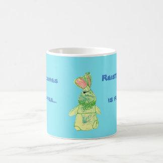 Caneca Morphing azul do chá do coelho de Anita
