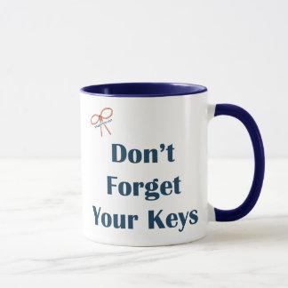 Caneca Não esqueça seus lembretes das chaves