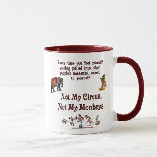 Caneca Não meus macacos, não meu circo