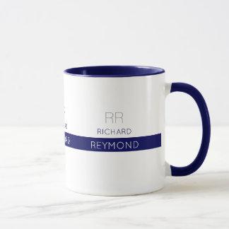 Caneca nome elegante masculino da tipografia no azul