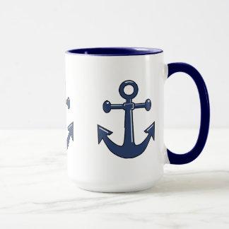 Caneca O barco 3 náutico azul ancora o tema da navigação