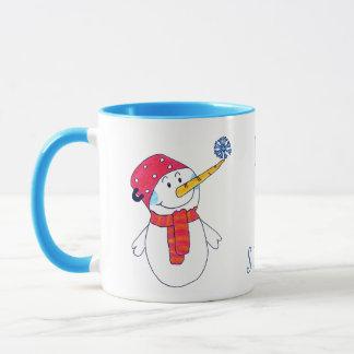 Caneca O boneco de neve com um floco de neve deixou-o