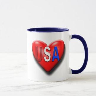 Caneca O coração de América do amor