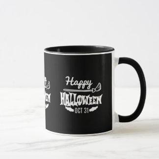 Caneca O Dia das Bruxas o 31 de outubro feliz preto e