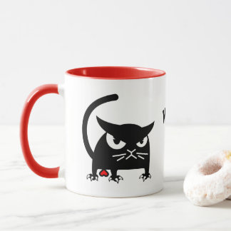 Caneca O gato preto engraçado de Badd Gato agride