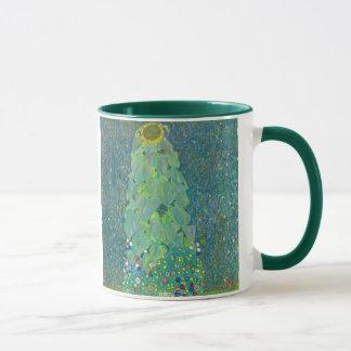 Caneca O girassol por Klimt, vintage floresce a arte