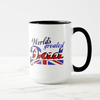 Caneca O grande pai do mundo com bandeira inglesa
