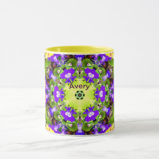 Caneca O Lobelia e os Pansies do ~ modelam AVERY