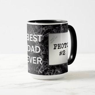 Caneca O melhor pai nunca em fotos Mármore-Moldadas preto