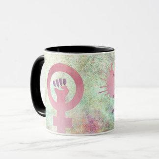 Caneca O símbolo feminista cor-de-rosa na textura do