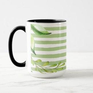 Caneca O verde corajoso da arte da aguarela listra o
