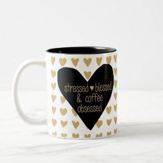 Caneca obcecada café abençoada forçada