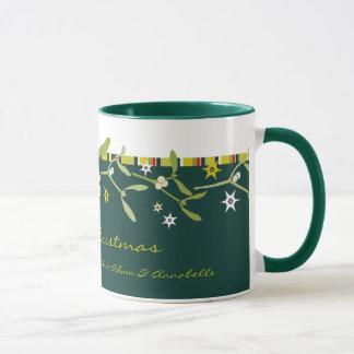 Caneca Obrigado verde excepcionalmente projetado do Natal