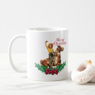 Caneca ocidental do Feliz Natal do cavalo da