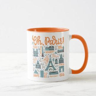 Caneca Oh, Paris! tipografia da cidade de  