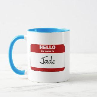 Caneca Olá! meu nome é o jade (vermelho)
