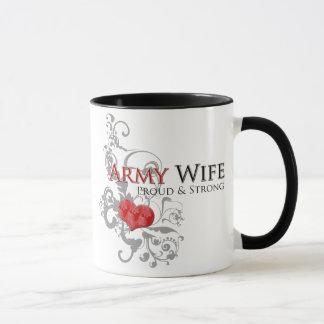 Caneca orgulhosa & forte da esposa do exército -