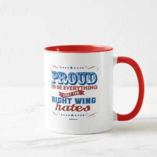 Caneca Orgulhoso ser tudo os ódios do direita