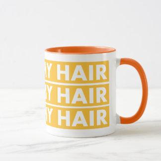 Caneca Ouro amarelo eu amo meu entalhe do cabelo